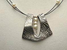 Perle élégance PMC et perles pendentif collier en par Silvermaven