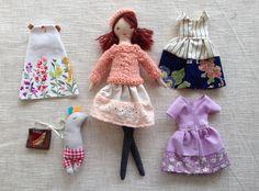 Dress up doll, Handmade cloth doll, doll set, doll with toy rabbit ,soft doll, dolls to dress, rag doll