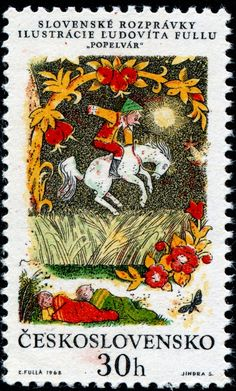 """Cinderlad,"" engraved by Jindra Schmidt, image of the six stamps in a set illustrating Slovak folk tales, designed by Slovak painter and graphic artist L'udovνt Fulla (1902-1980). Stamp from Czechoslovakia circa 1968"