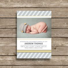 Andrew Thomas Baby Boy Birth Announcement by MelissaRoseDesign, $15.00
