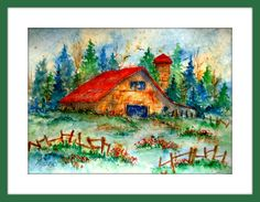 Watercolor Barn on Rice Paper by MarthaKislingArt