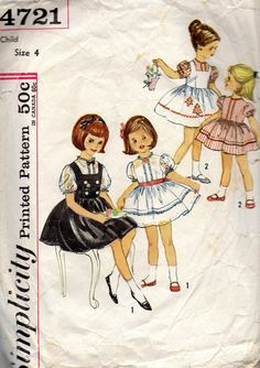 vintage 1960s childs DRESS jumper pinafore simplicity sewing pattern 4721 size 4 belt FULL skirt party applique puff sleeves RETRO. $9.00, via Etsy.