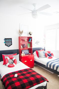 An Oklahoma Lake Home Where Life Is Slower | Design*Sponge-in love with this campy boys room in navy, red, white