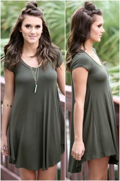 The Last Song Olive V-Neck Short Sleeve Casual Dress