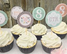 These are PRINTABLE Great to be 8 cupcake toppers. The soft pink, minty aqua, and gray designs are perfect for your sweet little girls baptism