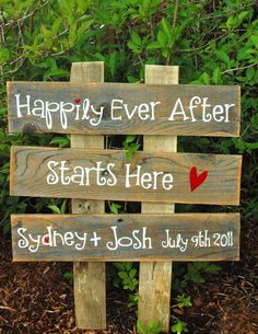 CUSTOM ORDER Large Wedding Sign -3 rows of wood -you choose the words. $39.00, via Etsy.