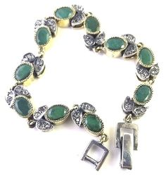 NATURAL EMERALD GEMSTONE ANTIQUE VICTORIAN 925 STERLING SILVER  BRACELET 7.5 #SilvexStore #Statement