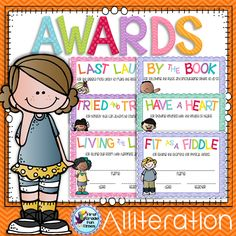 Here are some fun alliteration end of the year awards. I included 3 male and 3 female with various skin tones for each end of year award to give you lots of choices. First Grade Teachers, First Grade Classroom, Classroom Fun, Classroom Organization, Classroom Management, Behaviour Management, Future Classroom, Beginning Of The School Year, Last Day Of School