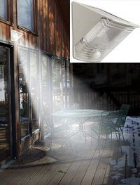Just hang this Solar Spotlight on the wall and it gives great light for sitting out on the deck or using the grill.