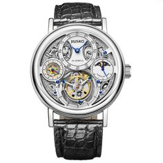 Jiusko Mens Lmtd Edition Diamond 27-Jeweled Mechanical Tourbillon Moonphase Alligator Leather Dress Watch 153LS0102