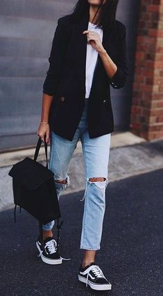 40 Best Office Outfits To Wear This Fall Dress And Converse 4bf5627de79
