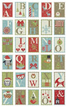 Cross stitch pattern CHRISTMAS ALPHABET advent by anetteeriksson