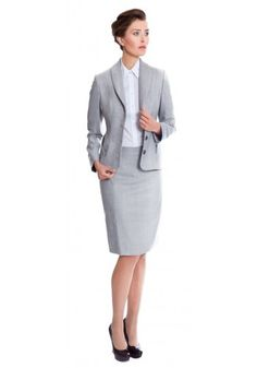 Women's light grey skirt suit made from Super 140s pure wool | The Penny by NOOSHIN