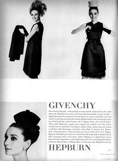 """Audrey Hepburn modeling Givenchy, photographed by Irving Penn for the fashion editorial: """"Givenchy...Audrey Choices""""  for Vogue US, November 1, 1964."""