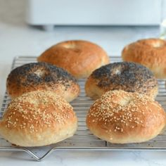 Save time by making homemade bagels using your bread machine. These Bread Machine Bagels are soft, chewy, and so much better than store bought! Bread Bun, Bread Rolls, Focaccia Bread Machine Recipe, Breakfast Snacks, Breakfast Recipes, How To Make Bagels, Bread Maker Recipes, Homemade Bagels, Cooking Recipes