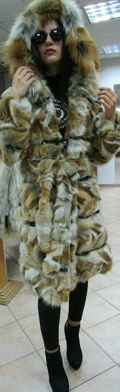 New,Natural Real Red Fox Hooded Fur coat with black leather stripes!!!The most modern furcoat!