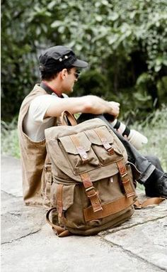 029e2b46789 Stylish mean wearing the army green canvas hiking school rucksack by  Serbags Canvas Backpacks, Rucksack