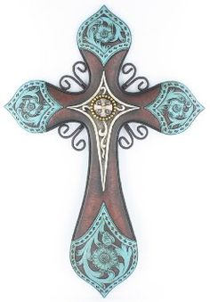 "Large 19"" x 13"" Tooled Turquoise Leather Look Wall Cross with center Concho and"
