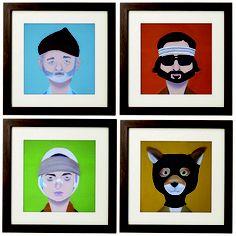 Quadros com ilustrações de personagens de filmes/séries/desenhos