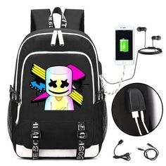 207a528c91 Marshmello Face Alone Dj Backpack With Usb Charging Port And Lock   Headphone Interface For College Student