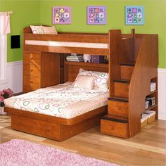 """Saw this at Jordan Furniture. Thoughts-Would make the safety rail higher. Space under the loft bed has a 4 foot height. Assume bookcase on the right could be switched to the left and be under the loft bed. Stairs were an 18 """" width with a 10"""" tread (Berg-Sierra Collection)"""