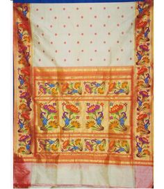 White flower work Handloom Paithani Saree
