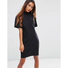 ASOS Short Sleeve High Neck Pencil Dress (£38) ❤ liked on Polyvore featuring dresses, black, high neck dress, stretch pencil dress, zip dress, stretch dress and short-sleeve dresses