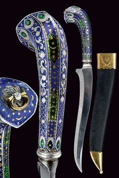 """Lucknow Dagger •Dated: late 18th Century •Culture: Oriental •Place of Origin: England •Measurements: overall length 39 cm The wooden scabbard has leather covering, gilt brass mounts, and is engraved with a crescent between racemes, signed, at the back the writing """"NEILD & GOLDNEY'S St. James Str. Sword Cutler's to His Highness THE PRINCE OF WALES""""."""
