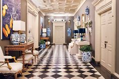 Grand Hall by Mary McDonald Grand Hall, Grand Entrance, Hollywood Regency, Mary Mcdonald, Halls, Chinoiserie Chic, Entrance Hall, Love Home, White Porcelain