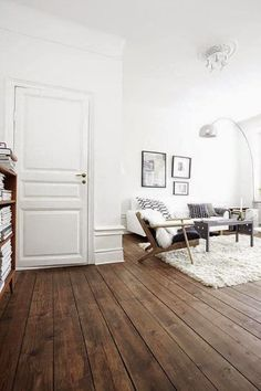White living room with rustic wood floor  | floors | flooring | flooring ideas | floor plans | flooring diy | flooring options | flooring tutorials | flooring & tile | flooring ideas cheap |    https://steeltablelegs.com #CheapHardwoodFlooringhouse #CheapHardwoodFlooringideas