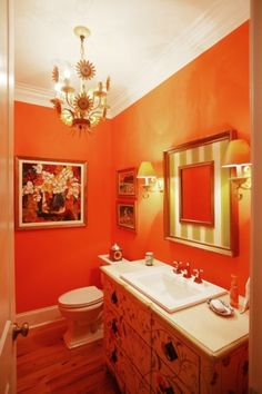 Experiment with orange. What a fun color for a bathroom! #orange #bright