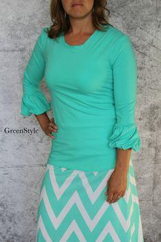 Women's Bella Bubble Sleeve Knit Top in Mint from by Gogreenstyle, $48.00