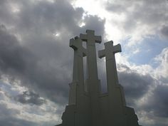 Very famous hill in Vilnius, The hill is located nearby Gediminas castle on the opposite bank of the river Vilnia. Three white crosses standing on the top symbolize Lithuanians' mourning and hope.