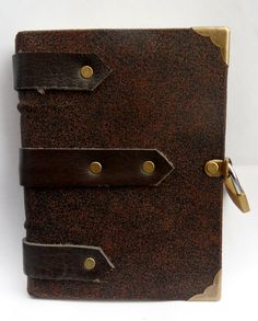 brown leather medieval bound hand stitched by johnnythescavenger