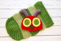 Crochet PATTERN  Newborn Hungry Caterpillar hat by Stephyscrochet, $5.50