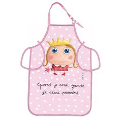 "Tablier ""Quand je serai grande, je serai Princesse"" - Le Coin des Créateurs #lecoindescreateurs #quandjeseraigrand #isabellekessedjian #ecole #rentree #tablier #princesse"