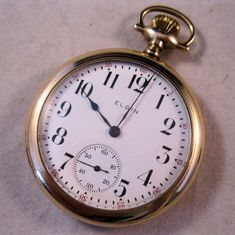 1909 ELGIN Pocket Watch 15 Jewels Mens Railroad Antique WORKS. $199.00, via Etsy.