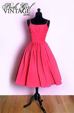 Vintage Clothing 1950'S Pink Corduroy Dress Full Skirt Tea Length....but in a different color