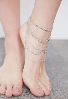 Layered Circle-Charmed Foot Chain