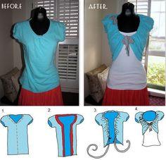 Transformer un T-Shirt pour en faire une top à porter avec une belle petite robe…