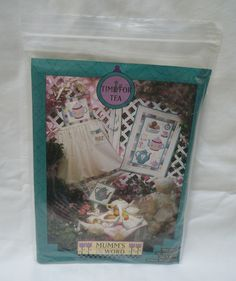 1994 Mumms the Word, Time for Tea pattern for tea sampler wall hanging, hostess…