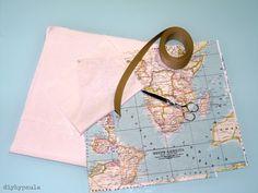 Diy by Paula: Tela mapamundi: tutorial de bolsa de tela