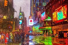 TIMES SQUARE LIGHTS BY IAIN MAVIN...PHOTO WITH PAINT EFFECT.  LAYERS HE SAYS IN HIS DISCRIPTION...8 LAYERS OF EFFECTS