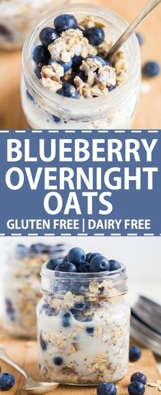 Blueberry overnight oats are an easy breakfast recipe. This healthy blueberry overnight oats recipe is also gluten free, dairy free and filled with healthy ingredients. When you make these overnight b Dairy Free Overnight Oats, Blueberry Overnight Oats, Overnight Oats In A Jar, Dairy Free Recipes Easy, Dairy Free Soup, Oats Recipes, Baking Recipes, Vegan Recipes, Skinny Recipes