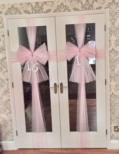 Baby pink door bows created for 16th birthday. Pink netting used to create the bows & Original door bow ... Baby showers  christening  baby births ...