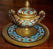 19th Century French Champleve Enamel Inkwell over Bronze / Cloisonne