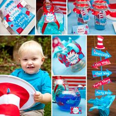 Dr Seuss Birthday Party Theme for Girl or Boy - Instantly Downloadable and Editable File - Personalize at home with Adobe Reader