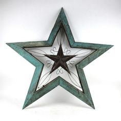 "Rustic Turquoise Wood Metal 40"" x 42"" Angled Star Wall Decoration 20129 