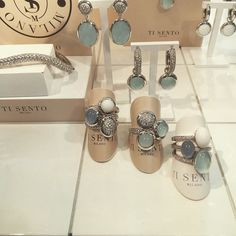 「 Stunning new collection from @tisentomilano full of #colour #blue #stacking 」