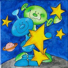 Außerirdische~Acryl Bild~Kinder-knolli... von knolli-art auf DaWanda.com